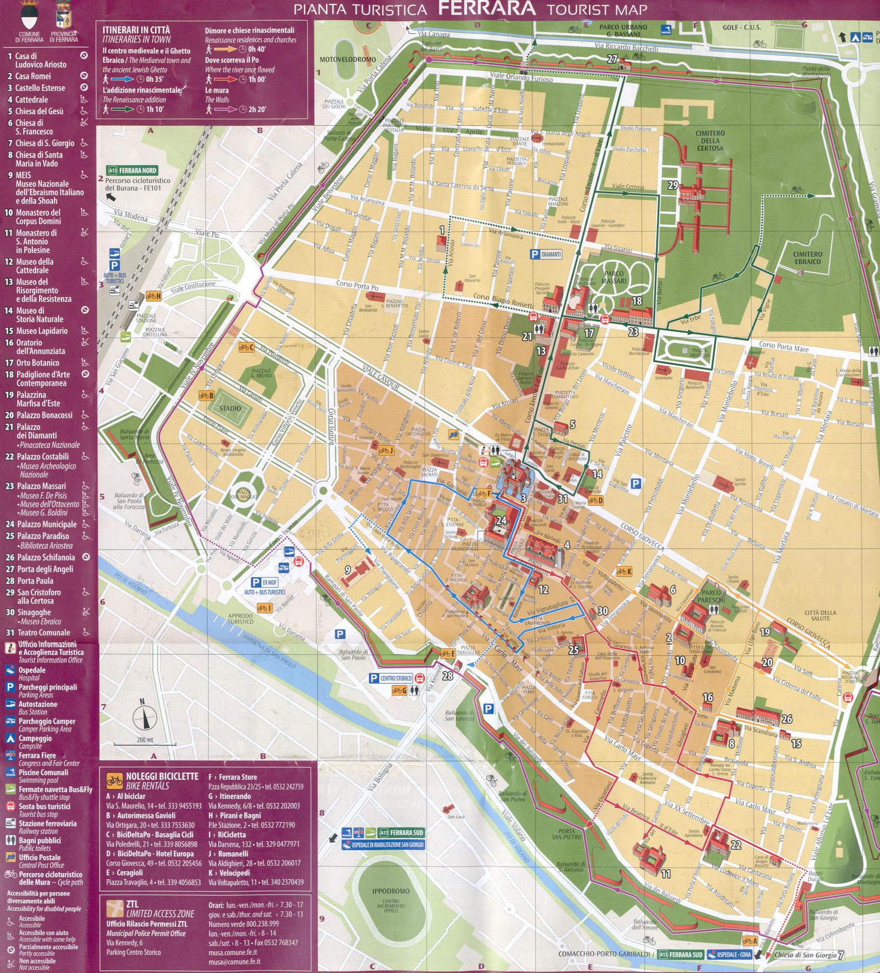 Ferrara - Mappa turistica