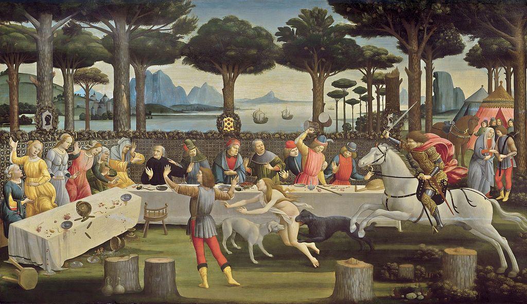 """Nastagio degli Onesti"", Botticelli, 1348, Museo del Prado"